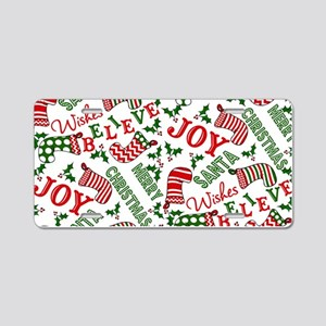 Merry Christmas Joy Stockin Aluminum License Plate