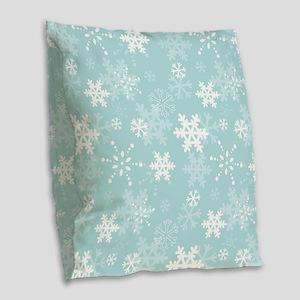 Snowflake Christmas Holiday Burlap Throw Pillow