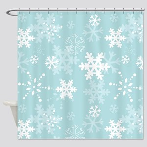 Snowflake Christmas Holiday Shower Curtain