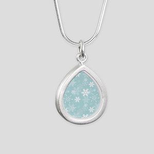 Snowflake Christmas Holi Silver Teardrop Necklace