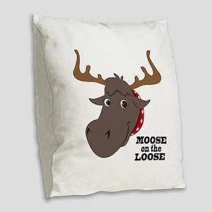 Moose On Loose Burlap Throw Pillow