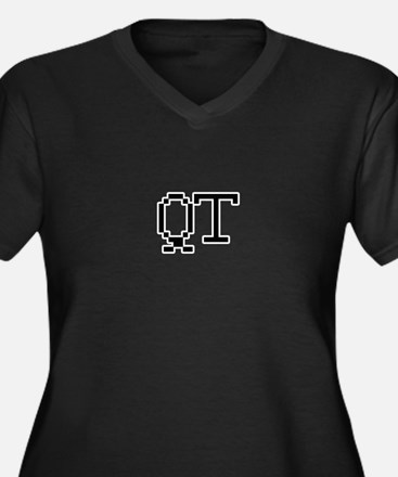 QT Women's Plus Size V-Neck Dark T-Shirt