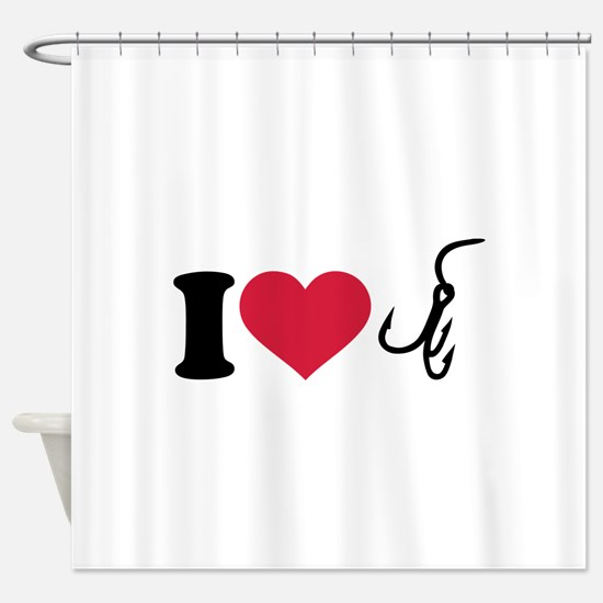 I love Fishing hook Shower Curtain