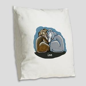 Italian Greyhound Huddle Burlap Throw Pillow