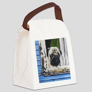 Pug shower curtain Canvas Lunch Bag