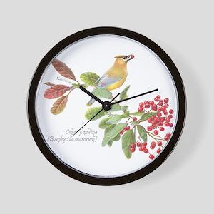 Cedar Waxwing and berries Wall Clock