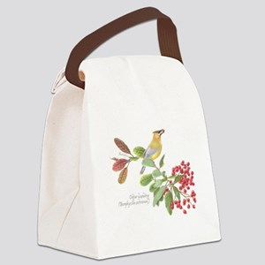 Cedar Waxwing and berries Canvas Lunch Bag
