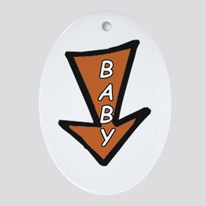 The word 'BABY' in arrow Oval Ornament