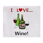 I Love Wine Throw Blanket