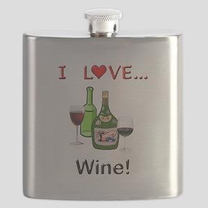 I Love Wine Flask
