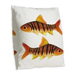 African Banded Barb Burlap Throw Pillow