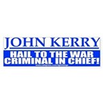 War Criminal in Chief Anti-Kerry Bumper Sticker