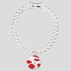 Red Poppies Charm Bracelet, One Charm