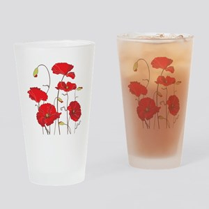 Red Poppies Drinking Glass