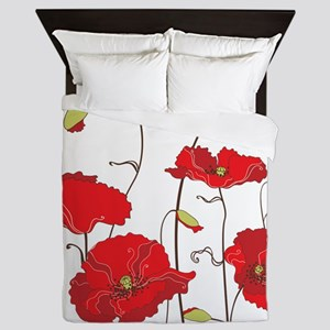 Red Poppies Queen Duvet