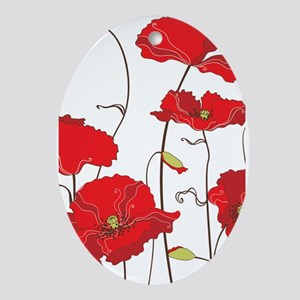 Red Poppies Ornament (Oval)