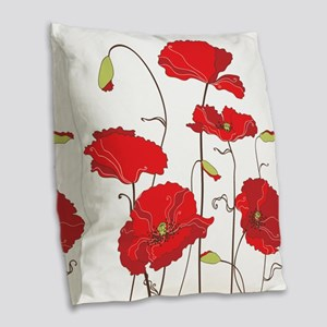 Red Poppies Burlap Throw Pillow
