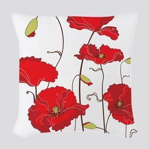 Red Poppies Woven Throw Pillow