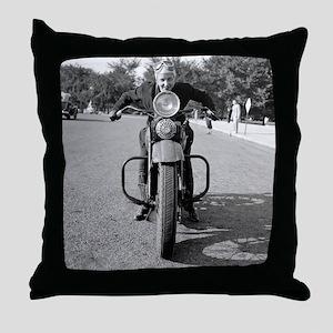Girl Riding Motorcycle, 1937 Throw Pillow