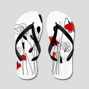 Red Poppies and Hearts Flip Flops