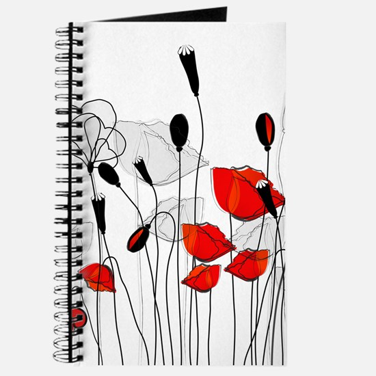 Red Poppies and Hearts Journal