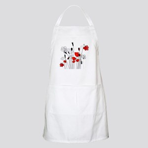 Red Poppies and Hearts Apron