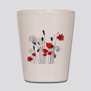 Red Poppies and Hearts Shot Glass