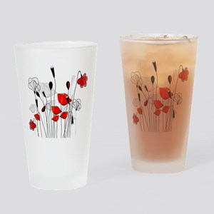 Red Poppies and Hearts Drinking Glass
