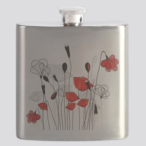 Red Poppies and Hearts Flask