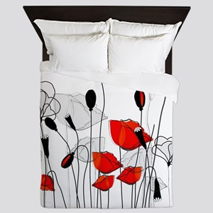Red Poppies and Hearts Queen Duvet