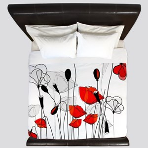 Red Poppies and Hearts King Duvet