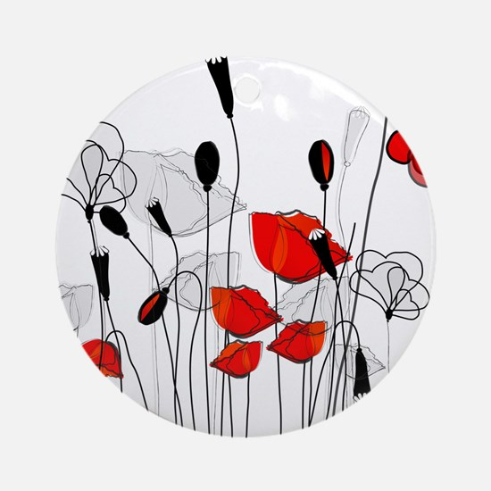 Red Poppies and Hearts Ornament (Round)