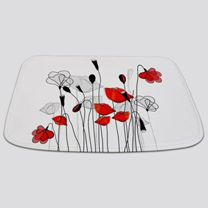 Red Poppies and Hearts Bathmat