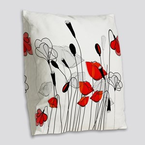 Red Poppies and Hearts Burlap Throw Pillow