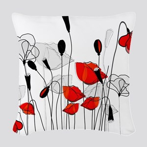 Red Poppies and Hearts Woven Throw Pillow