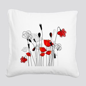 Red Poppies and Hearts Square Canvas Pillow