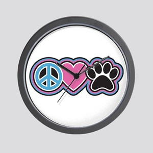 Peace Love Paws Wall Clock
