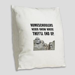 Homeschool Rushmore Burlap Throw Pillow