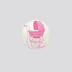 Pink Baby Carriage Mini Button