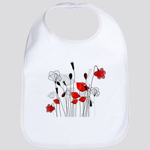 Red Poppies and Hearts Bib