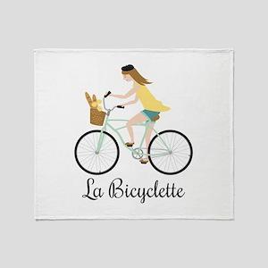 La Bicyclette Throw Blanket