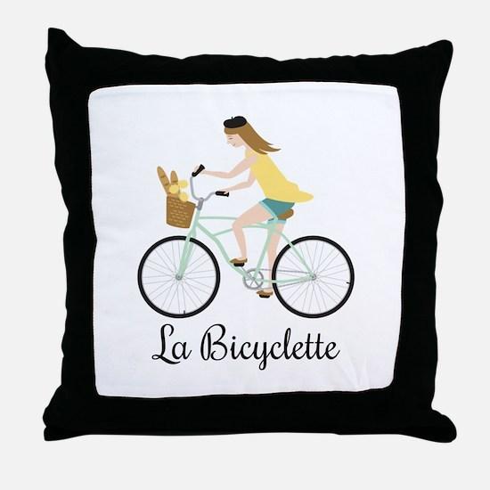 La Bicyclette Throw Pillow
