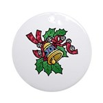 Christmas Holly and Bells Round Porcelain Ornament