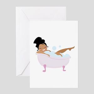 Ladys Bubble Bath Greeting Cards