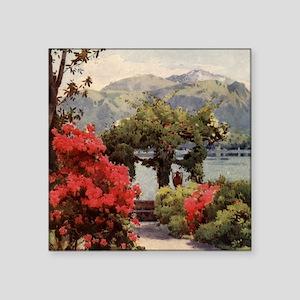 "Vintage Lake Como, Italy Square Sticker 3"" x 3"""