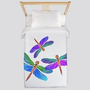 Dive Bombing Iridescent Dragonflies Twin Duvet