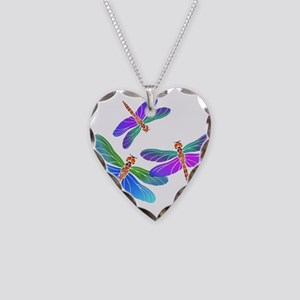 Dive Bombing Iridescent Drago Necklace Heart Charm