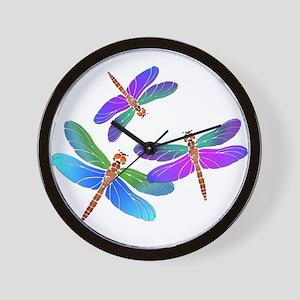 Dive Bombing Iridescent Dragonflies Wall Clock