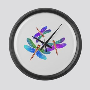 Dive Bombing Iridescent Dragonfli Large Wall Clock