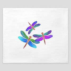 Dive Bombing Iridescent Dragonflies King Duvet
